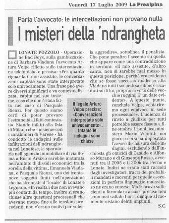 La Prealpina del 17 luglio 2009