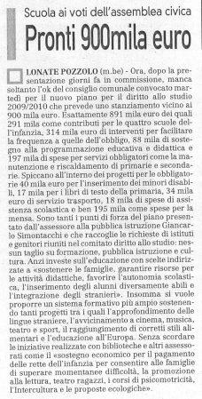 La Prealpina del 26 lulgio 2009