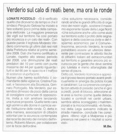 La Prealpina del 18 settembre 2009