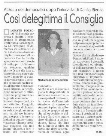 La Prealpina del 29 settembre 2009