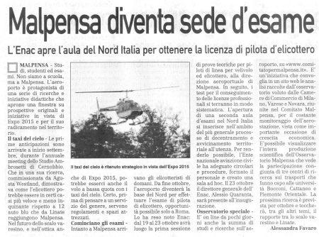 La Prealpina del 2 ottobre 2009