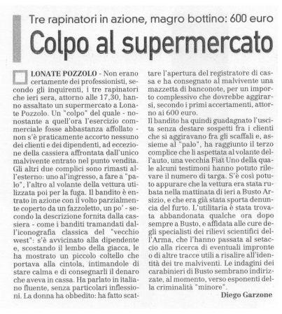 La Prealpina del 6 ottobre 2009