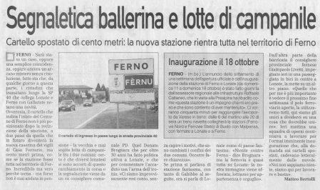 La Prealpina del 11 ottobre 2009