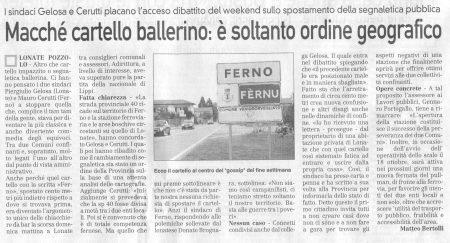 La Prealpina del 13 ottobre 2009