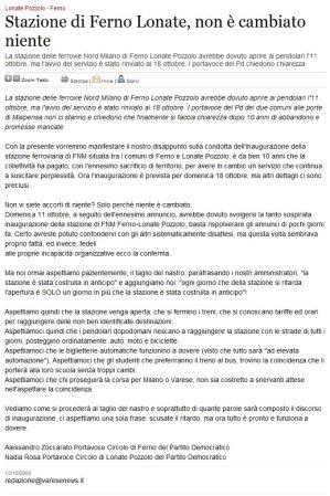 Varesenews del 13 ottobre 2009
