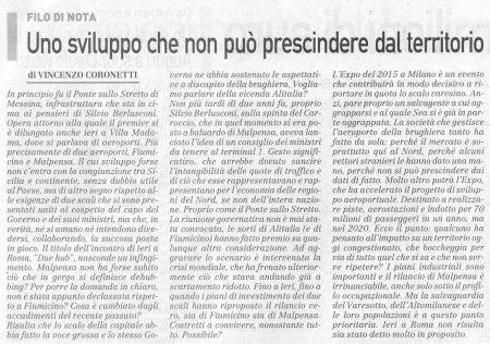 La Prealpina del 15 ottobre 2009