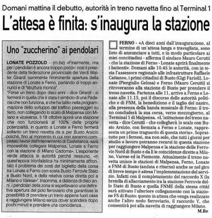 La Prealpina del 17 ottobre 2009
