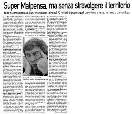 La Prealpina del 18 ottobre 2009