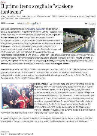 Varesenews del 18 ottobre 2009