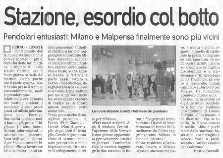 La Prealpina del 20 ottobre 2009