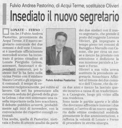 La Prealpina del 23 ottobre 2009