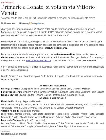 Varesenews del 23 ottobre 2009