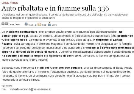 Varesenews del 24 ottobre 2009