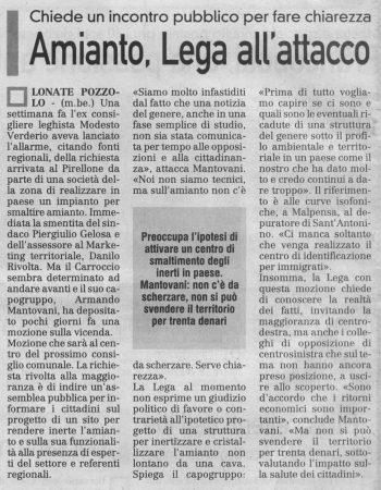 La Prealpina del 25 ottobre 2009