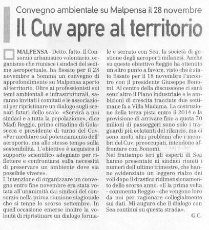 La Prealpina del 28 ottobre 2009