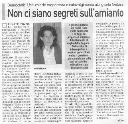 La Prealpina del 30 ottobre 2009