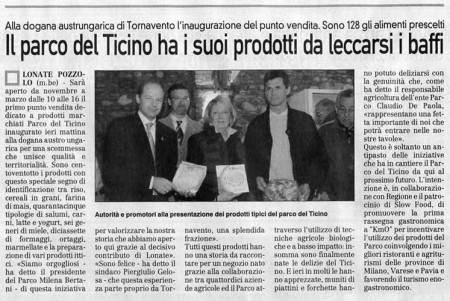 La Prealpina del 1° novembre 2009