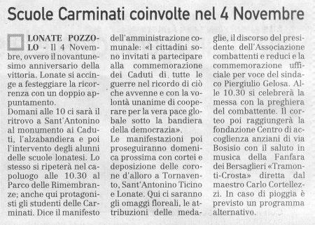 La Prealpina del 3 novembre 2009