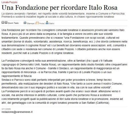 Varesenews del 3 novembre 2009