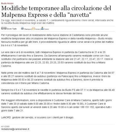 Varesenews del 4 novembre 2009