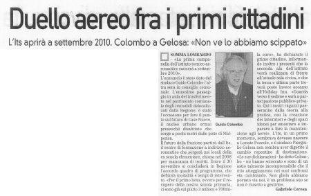 La Prealpina del 18 novembre 2009