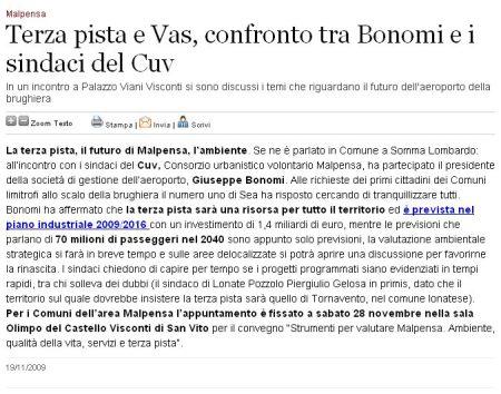 Varesenews del 19 novembre 2009