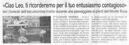 La Prealpina del 25 novembre 2009
