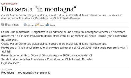 Varesenews del 25 novembre 20909