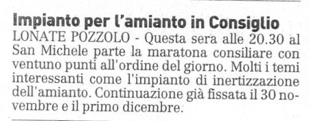La Prealpina del 26 novembre 2009