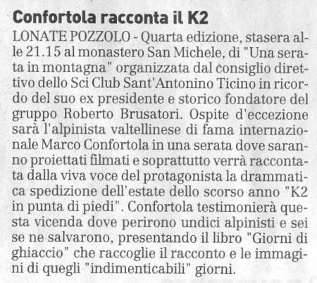 La Prealpina del 27 novembre 2009