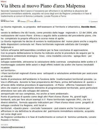 Varesenews del 5 gennaio 2010