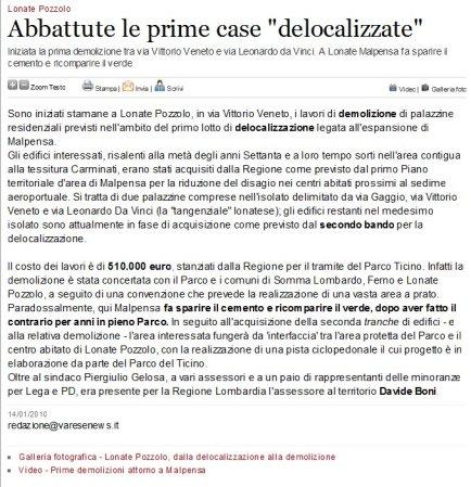 Varesenews del 14 gennaio 2010