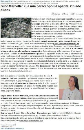 Bergamonews del 15 gennaio 2010
