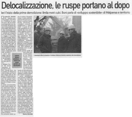La Prealpina del 15 gennaio 2010