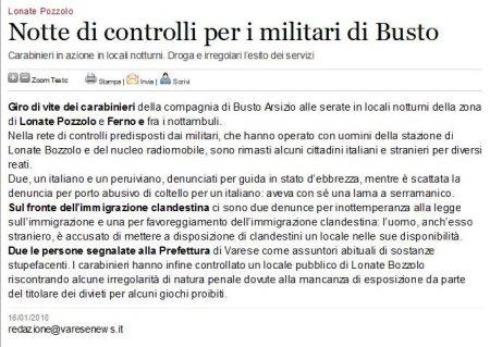 Varesenews del 16 gennaio 2010