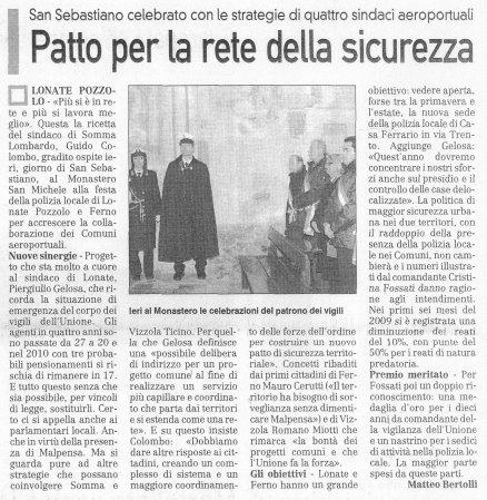 La Prealpina del 21 gennaio 2010