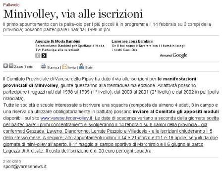 VareseNews del 21 gennaio 2010