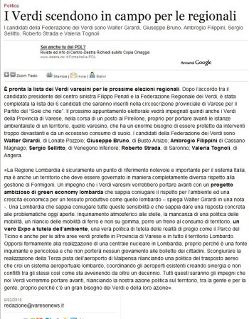 Varesenews del 9 febbraio 2010