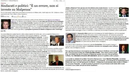 """Sindacati e politici: """"È un errore, non si investe su Malpensa"""""""