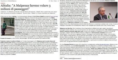 """Alitalia: """"A Malpensa faremo volare 3 milioni di passeggeri"""""""