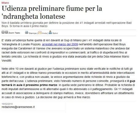 Varesenews del 16 febbraio 2010
