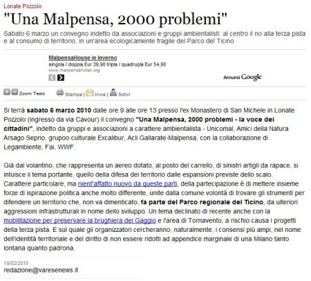 Varesenews del 19 febbraio 2010