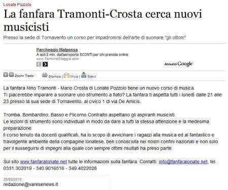 Varesenews del 26 febbraio 2010