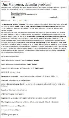 Varesenews del 5 marzo 2010