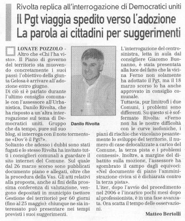 La Prealpina del 30 marzo 2010