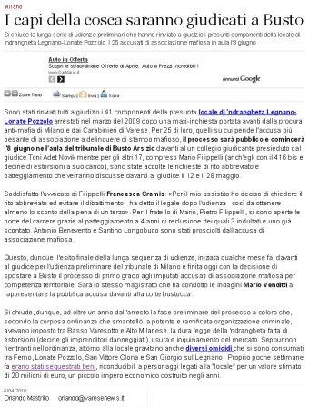 Varesenews del 8 aprile 2010