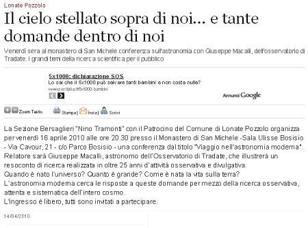 VareseNews del 14 aprile 2010