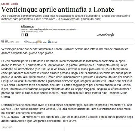 Varesenews del 19 aprile 2010