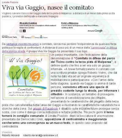 Varesenews del 27 aprile 2010