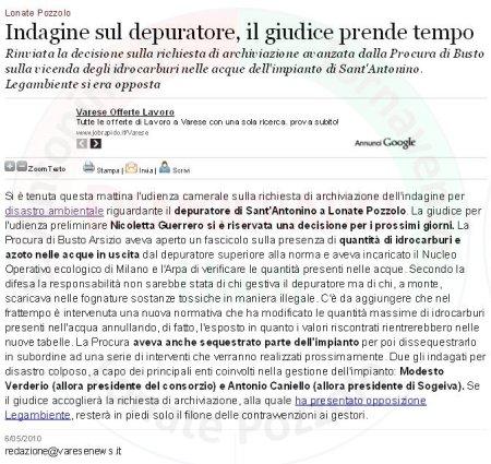 Varesenews del 6 maggio 2010